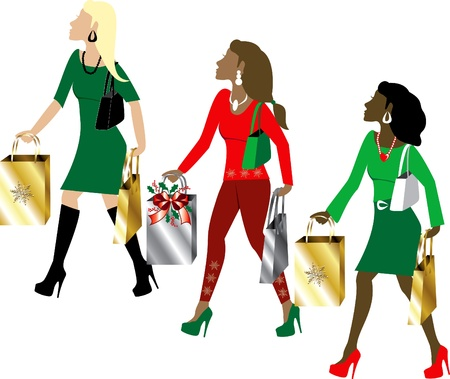 holiday shopping: Illustration of three women Christmas shopping with bags dressed fashionably.