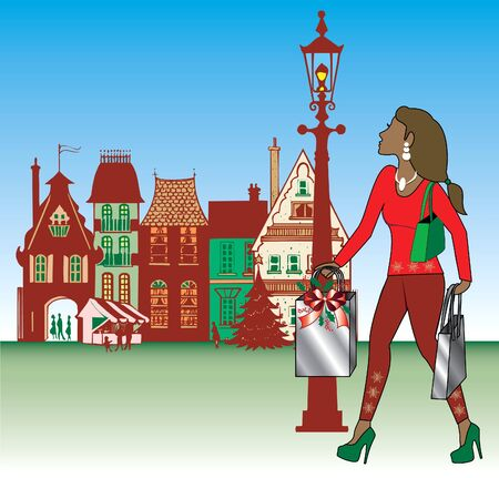 indian village: Illustration of brunette woman Christmas shopping with bags dressed fashionably.
