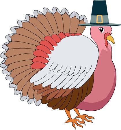 illustration of a Turkey Pilgrim with hat. Иллюстрация
