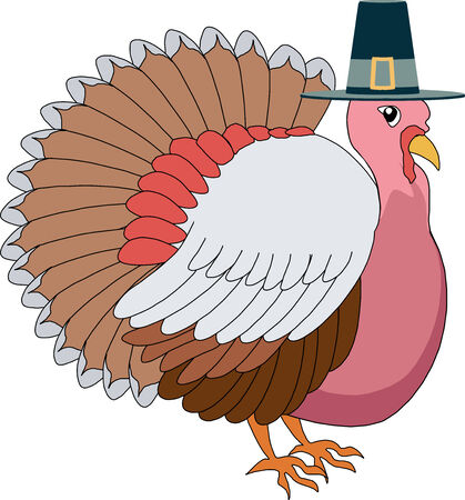 pilgrim hat: illustration of a Turkey Pilgrim with hat. Illustration