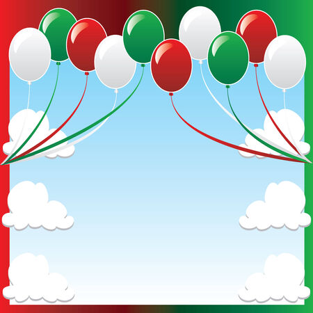 Illustration of 10 balloons with red and green backgound and a place for text or imagery. Stock Vector - 8278545