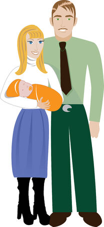 pleaded: Vector Illustration of Family number 4 isolated over white. Illustration