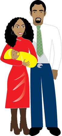 velvet dress: Vector Illustration of Family number 6. A family of 3 isolated.  Illustration