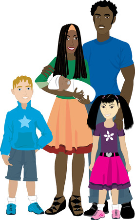 family isolated: Vector illustration of Family number 6 Isolated. Foster care or Adoption.