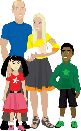 family isolated: Vector illustration of Family number 7 Isolated. Foster care or Adoption.