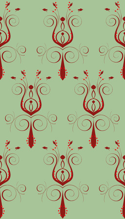 Illustration of seamless background. Red Green Abstract Flower Vector