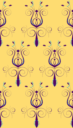 Illustration of seamless background. Purple Yellow Abstract Flower Vector