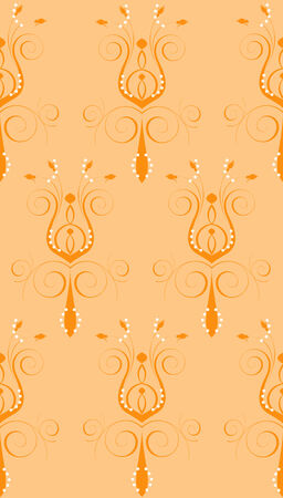 Illustration of seamless background. Peach Orange Abstract Flower Vector