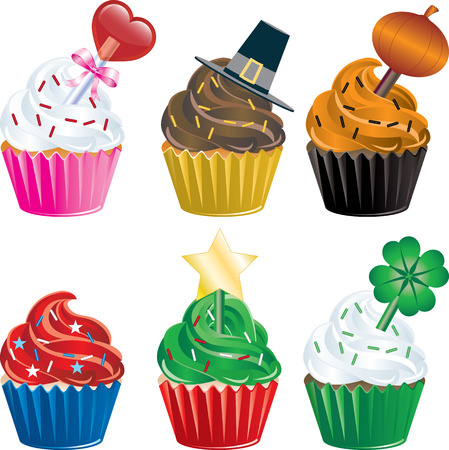 six different Holiday Cupcakes. Christmas, Halloween, Thanksgiving, Valentines Day , Independence Day and St. Patricks Day.
