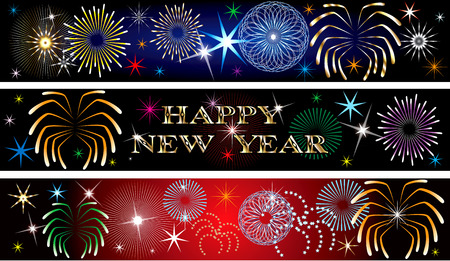 Vector Illustration for the New Year or independence day. Banners Background. Set of 3. New Year Firework Banners2