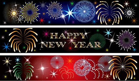 Illustrazione vettoriale per il nuovo anno o il giorno dell'indipendenza. Sfondo di banner. Set di 3. Banner di fuochi d'artificio di Capodanno2 Archivio Fotografico - 8489837