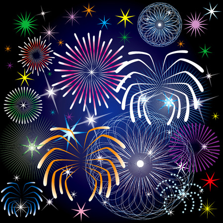 Vector Illustration of colorful fireworks.  Vectores