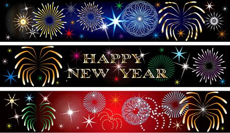 Vector Illustration for the New Year or independence day. Banners Background. Set of 3. New Year Firework Banners2 Stock Illustration - 8489839