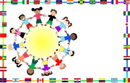 illustration for cultural event showing diversity and 36 different flags. illustration