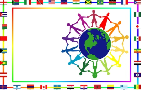 biracial:   Illustration for cultural event showing diversity and 36 different flags.