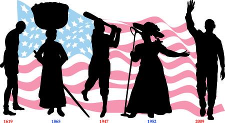 Vector illustratie tijdlijn voor Black History month met Amerikaanse vlag.