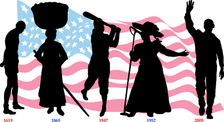 Vector Illustration timeline for Black History month with American flag. Иллюстрация