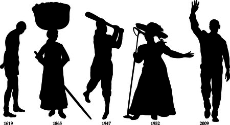 Vector Illustration timeline for Black History month. Vettoriali