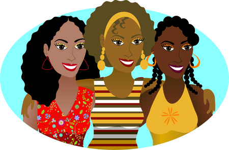 Vector Illustration of 3 friends or sisters.  Vectores