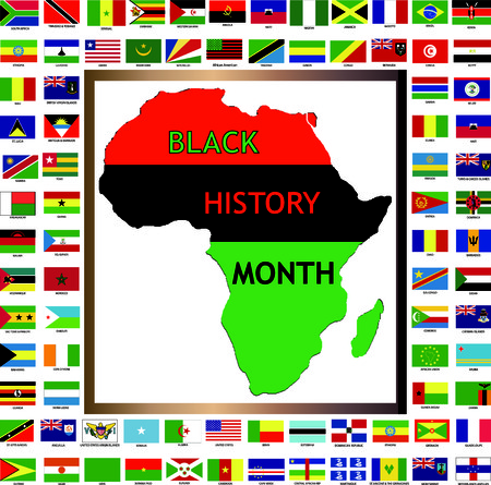 miras: Vector Illustration showing African and black cultured flags for Black History Month.