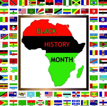 Vectorillustratie van Afrikaanse en zwart gekweekt vlaggen voor Black History Month.