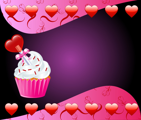 cupcake illustration: Vector Valentine Background with Heart cupcake.