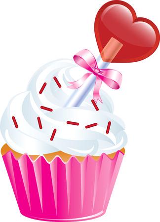 buttercream: Illustrazione vettoriale di sei diversi dolci San Valentino.