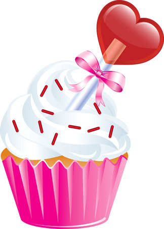 vanilla cupcake: Vector Illustration of six different Valentine Sweets. Illustration