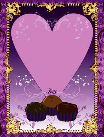 Illustration. A template background Purple Chocolate Card or invitation. May add photo andor text. Vector