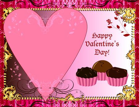Illustration Valentines Chocolate card or invitation. May add photo andor text. Vector