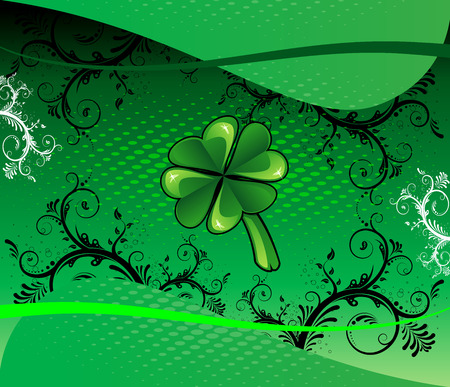 St Patricks Day Background with shamrock and scrolls. Vector