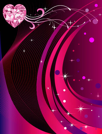 Vector Abstract Heart with reddish rainbow colored background. Valentines Day Background 3.