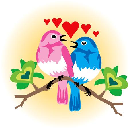 birds in tree: Illustrazione vettoriale di uccelli amore 2 con i cuori. Vettoriali