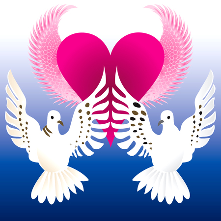 romance: Vector Illustration of Love Doves with flying heart. Illustration