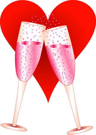 Vector Illustration of Love Champagne Glasses toasting. 일러스트