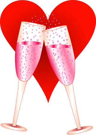 toasting: Vector Illustration of Love Champagne Glasses toasting. Illustration