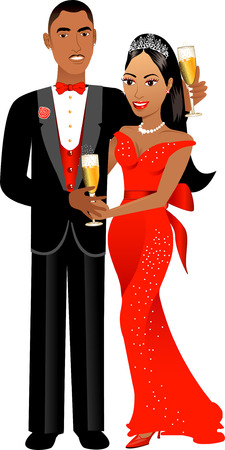 prom night: Vector Illustration. A beautiful Valentine Couple 1.