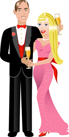 hot couple: Vector Illustration. A beautiful Valentine Couple 2. Illustration