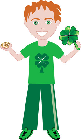 Vector of st. patricks Day boy with clover and gold. Vector