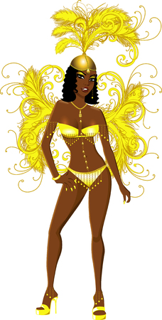 Vector Illustration for carnival costume or las vegas showgirl.