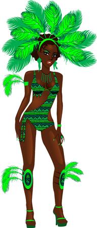 カーニバルの衣装やラスベガスのショーガールのベクトル イラスト。  イラスト・ベクター素材