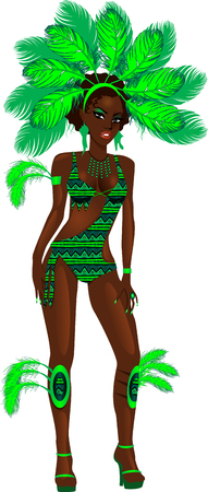 Vector Illustration for carnival costume or las vegas showgirl. Vector