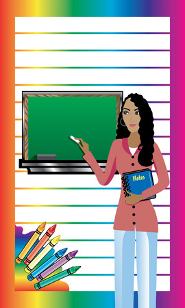 african american business woman: Business Card. Teacher with Chalkboard and notebook. There is room for text. See others in this series.