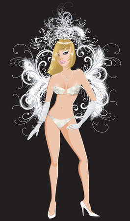 Illustration for carnival costume or las vegas showgirl. Vectores