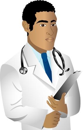 Vector of black man doctor. See others in this series. 版權商用圖片 - 9240503
