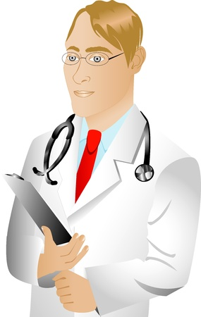 Vector of Caucasian man doctor. See others in this series.