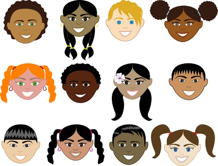 ponytails: Vector Illustration of 12 boy and girl faces with smiles.