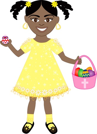 braid: Vector of cute little girl with Easter Eggs and Basket.