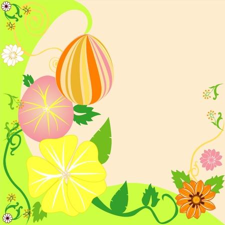Vector Illustration of Easter Egg Floral Background 2.  イラスト・ベクター素材