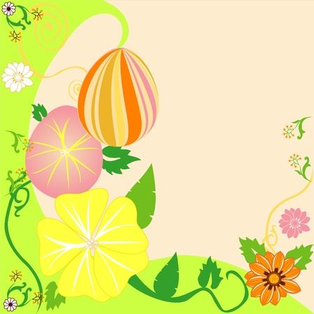 Vector Illustration of Easter Egg Floral Background 2. Vector